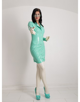 Latex kurzer Mantel mit Revers-Stehkragen