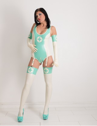 Damen Latex Body in Krankenschwester Optik