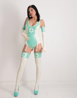 Damen Latex Body in Krankenschwester Optik