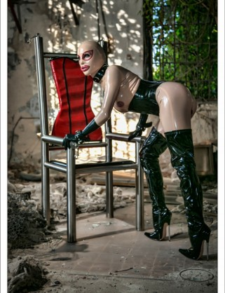 Damen Latex Catsuit Doll Anzug