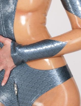 Damen Latex Catsuit mit Body-Einsatz