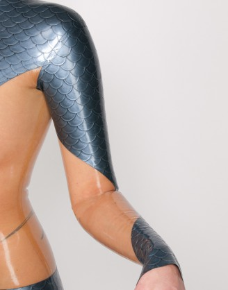 Damen Latex Catsuit mit Body-Einsatz