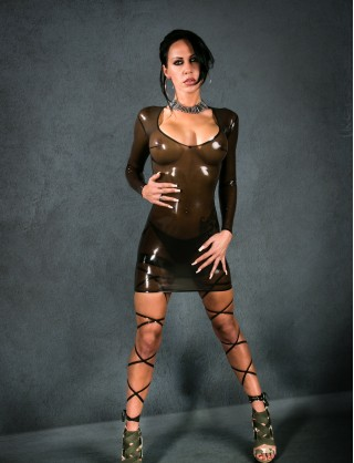 Damen Latex Minikleid mit langen Ärmeln