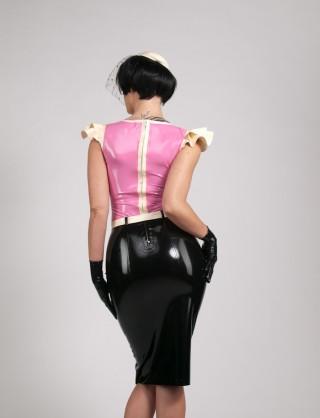 Damen Latex knielanges Kleid im Retro Design