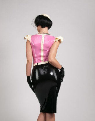 Damen Latex knielanges Kleid im Retro Design