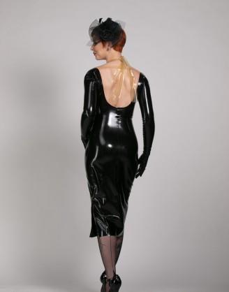 Damen Latex Kleid mit langen Ärmeln