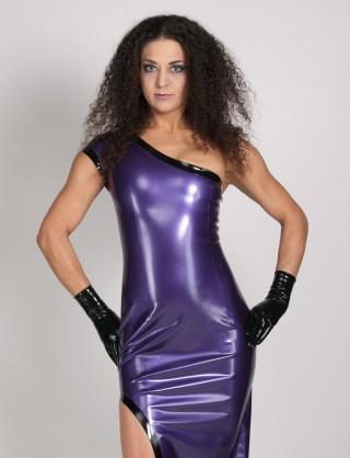 Damen Latex bodenlanges Kleid