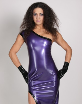 Damen Latex bodenlanges Kleid