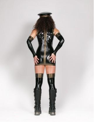 Damen Latex Minikleid mit Stehkragen