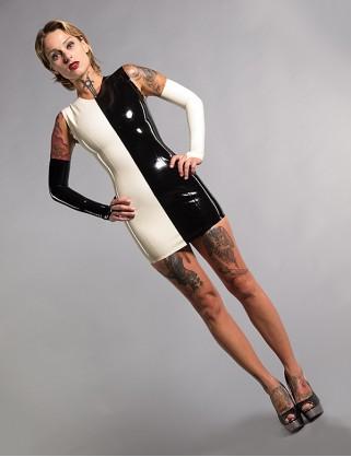 Damen Latex Minikleid ohne Ärmel