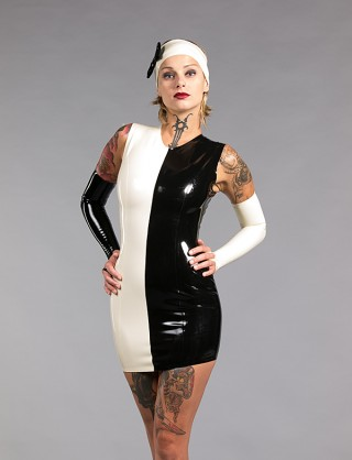 Damen Latex Minikleid ohne Ärmel
