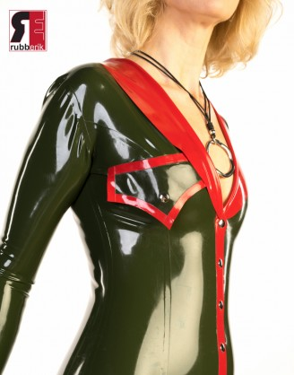 Damen Latex knielanges Kleid