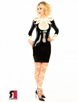 Damen Latex Kamille Kleid