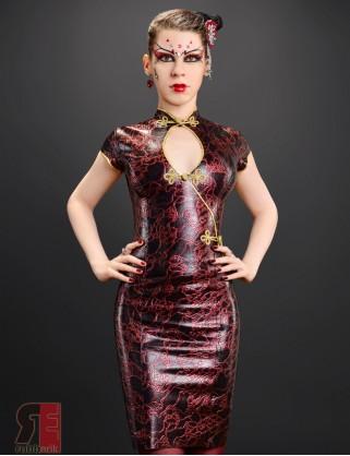 Damen Latex Asia Kleid