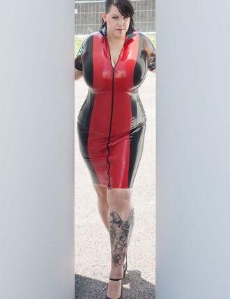 Damen Latex Midi-Kleid mit Stehkragen