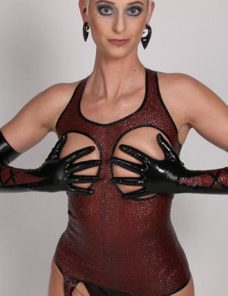 Latex Handschuhe in Zierschnürung Optik