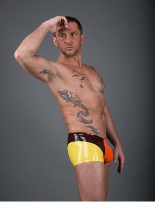 Herren Latex dreifärbige Hotpants