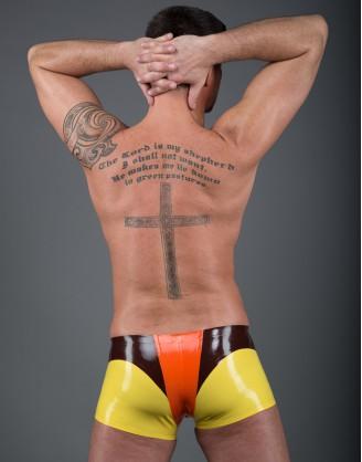 Herren Latex dreifärbige Pants