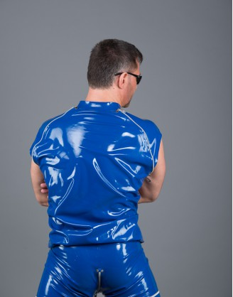 Herren Latex Jacke mit abnehmbaren Ärmeln
