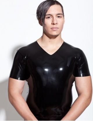 Herren Latex klassisches T-Shirt mit V-Ausshnitt
