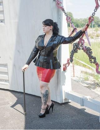 Damen Latex Jacke mit Revers-Stehkragen
