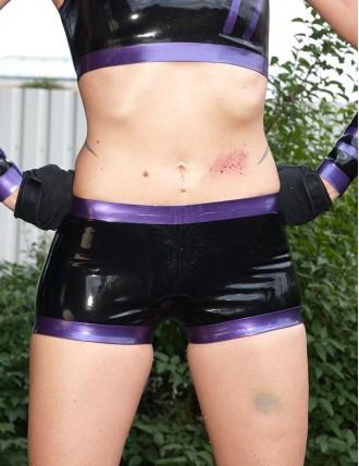Damen Latex Sportliche Hotpants